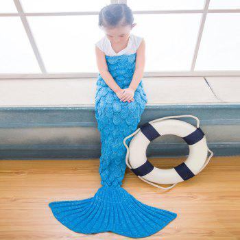 Warmth Comfortable Knitting Sofa Mermaid Blanket For Kids -  BRIGHT BLUE