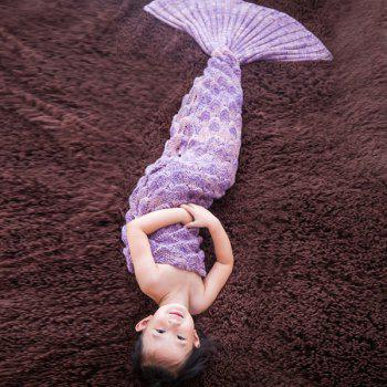 Warmth Comfortable Knitting Sofa Mermaid Blanket For Kids - LIGHT PURPLE