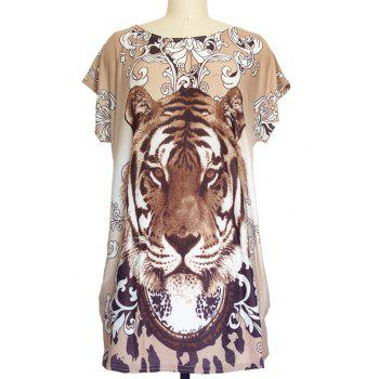 Tiger Print Loose-Fitting T-Shirt