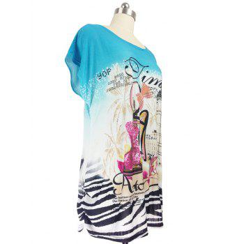 Pumps Print Loose-Fitting T-Shirt - WATER BLUE ONE SIZE