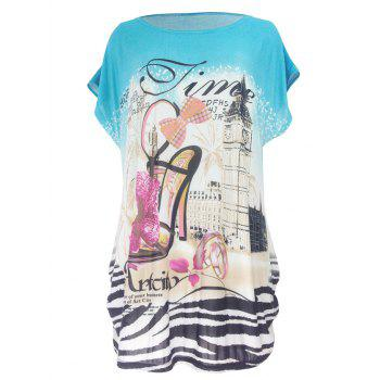 Pumps Print Loose-Fitting T-Shirt - WATER BLUE WATER BLUE