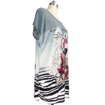 Pumps Print Loose-Fitting T-Shirt - GRAY ONE SIZE