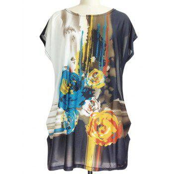 Abstract Floral Print Loose-Fitting Ruched T-Shirt