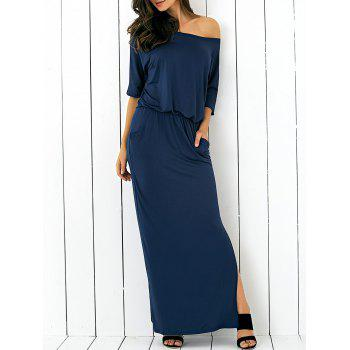 Pocket Side Slit Casual Fitted Long Maxi Dress