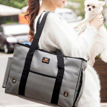 Portable Good Quality Stripe Design Pet Carrier Bag - GRAY L