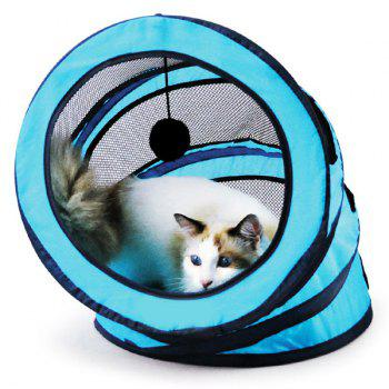 Pet Toy  Folding Breathable Spiral Cat Tunnel or Bed - BLUE BLUE