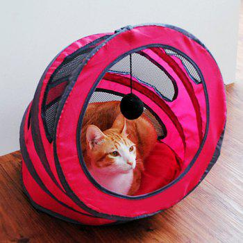 Pet Toy  Folding Breathable Spiral Cat Tunnel or Bed - PINK