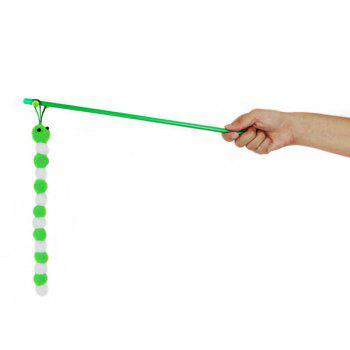 Carpenterworm Shape With Hand Shank Cat Faves Teaser Toy -  GREEN