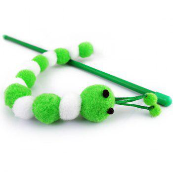 Carpenterworm Shape With Hand Shank Cat Faves Teaser Toy - GREEN GREEN