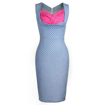 Sweetheart Neck Polka Dot Bodycon Dress