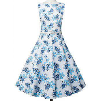 Floral Sleeveless A Line Vestido Dress