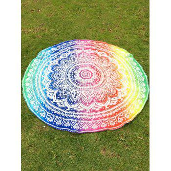 Indian Retro Style Bikini Boho Swimwear Colorful Mandala Lotus Flower Pattern Chiffon Round Beach Throw