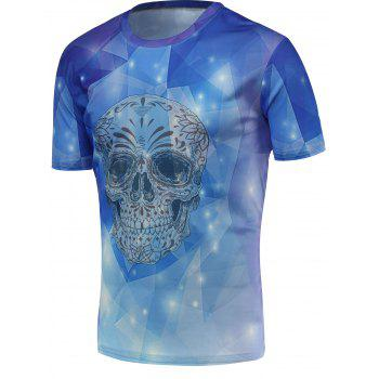 3D Skull Print Fashion Round Neck Trippy T-shirt