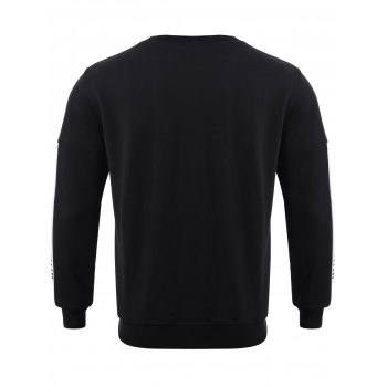 Color Block Spliced ​​col rond Sweatshirt - Blanc et Noir XL