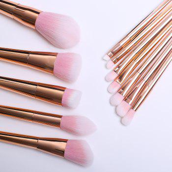 Professional 12 Pcs Plating Handle Nylon Facial Eye Lip Makeup Brushes Set -  ROSE GOLD