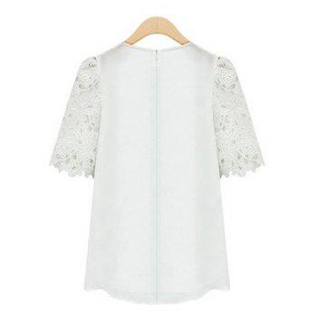 Guipure Lace Splicing Openwork Blouse - WHITE WHITE