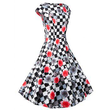 Plaid Floral Print Short Sleeve A Line Dress - BLACK/WHITE/RED S