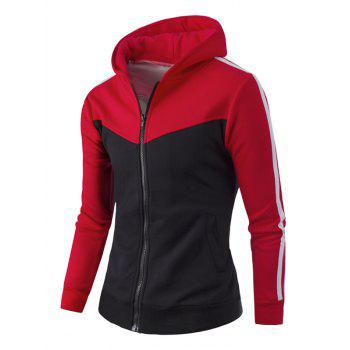 Zipper Up Stripe Bloc de Couleur Sweat à Capuche - Rouge M