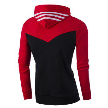 Zipper Up Stripe Bloc de Couleur Sweat à Capuche - Rouge L