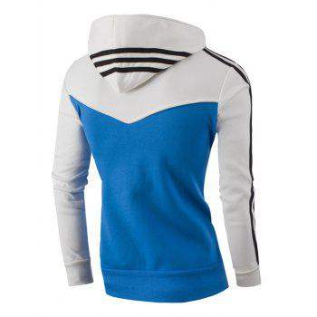 Zipper Up Stripe Bloc de Couleur Sweat à Capuche - Blanc M