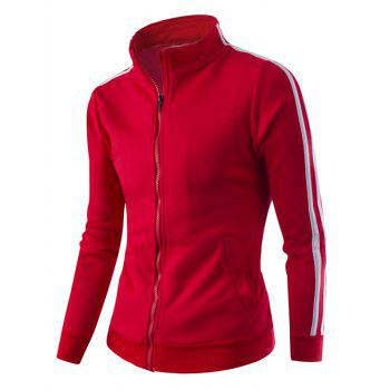 Zipper-Up Stand Collar Side Striped Jacket - RED M