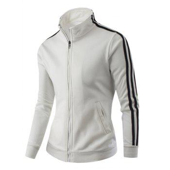 Zipper-Up Stand Collar Side Striped Jacket - WHITE M