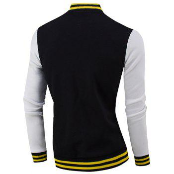 Rib Spliced Color Block Letter Pattern Baseball Jacket - BLACK M