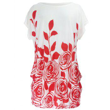 Abstract Floral Print Ruched Loose-Fitting Casual T-Shirt - RED RED