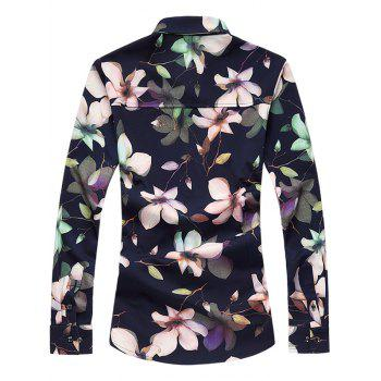 Turn-Down Collar Long Sleeve Plus Size 3D Floral Printed Shirt - CADETBLUE 3XL