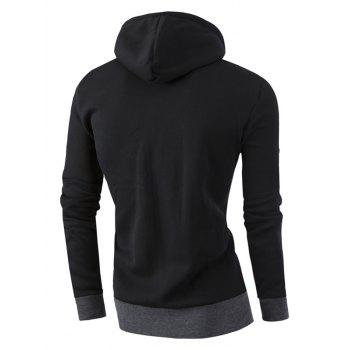 Full Zipper Deux Tons Sweat à Capuche - Noir L