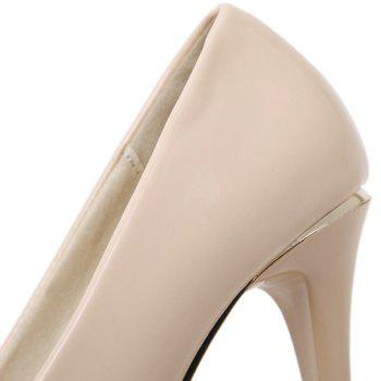 Stiletto talon cuir verni Peep Toe Shoes - Abricot 38