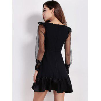 Flounce Mini Long Sleeve Sheer Cocktail Dress - BLACK XL