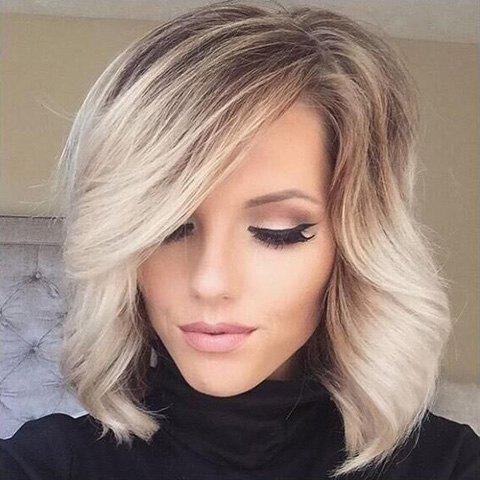 Double Color Medium Wavy Side Parting Real Natural Hair Wig - COLORMIX