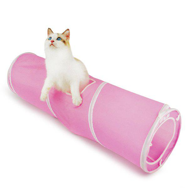 Pet Toy  Folding Breathable Spiral Cat Tunnel - PINK