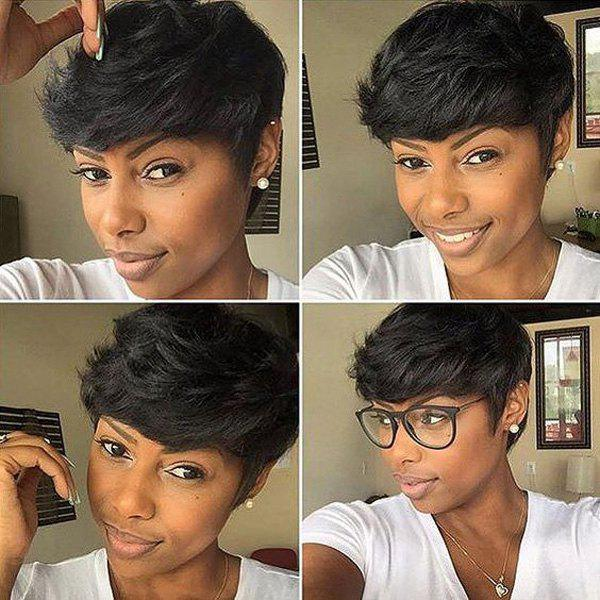 Full Bang Straight Short Fluffy Pixie Cut Real Natural Hair Wig - JET BLACK