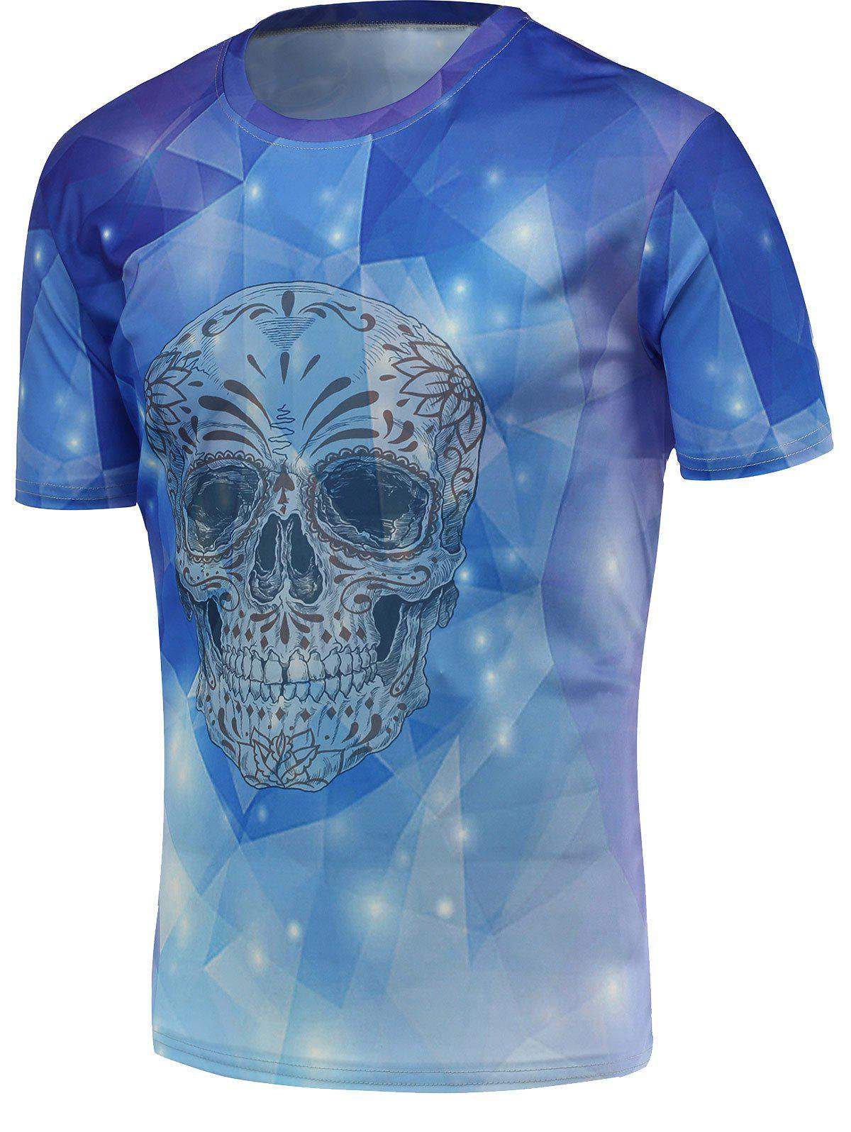 Fashion 3D Skull Print Round Neck Short Sleeves T-Shirt For Men - BLUE 3XL