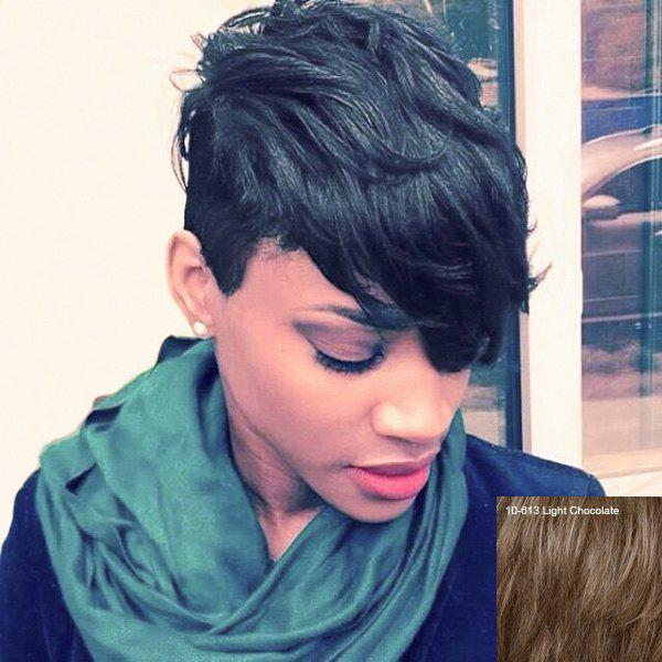 Oblique Bang Straight Short Fluffy Pixie Cut Real Natural Hair Wig - LIGHT CHOCOLATE