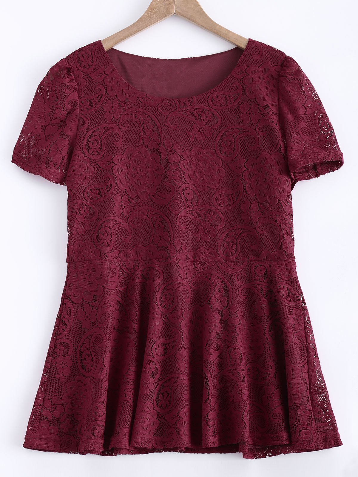 Buy Waisted Frilled Lace Blouse WINE RED
