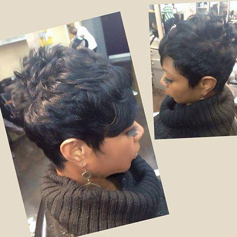 Oblique Bang Short Straight Fluffy Pixie Cut Real Natural Hair Wig - JET BLACK