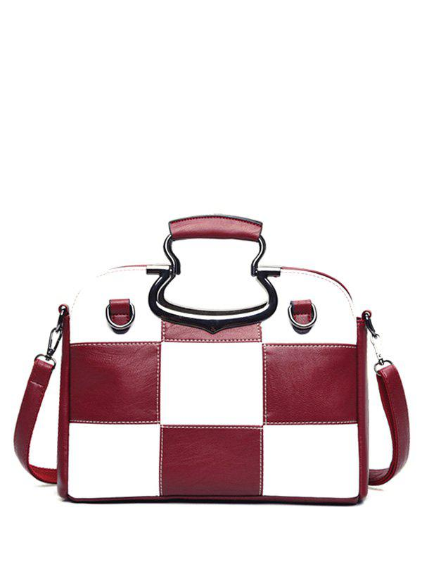 Color Block Plaid Sac fourre-tout - Rouge vineux