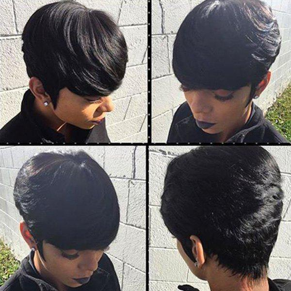 Short Side Bang Straight Fluffy Pixie Cut Human Hair Wig - JET BLACK