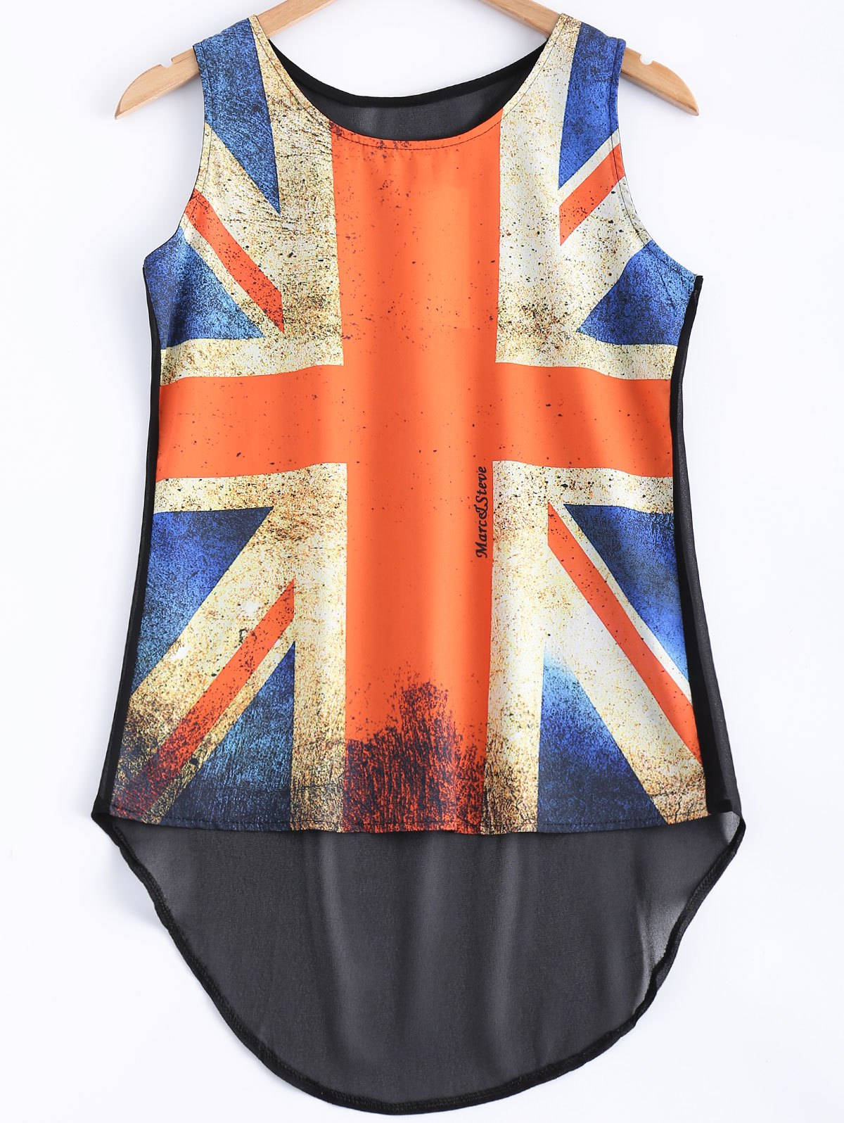 Flag Pattern See-Through Tank Top - ORANGE 2XL