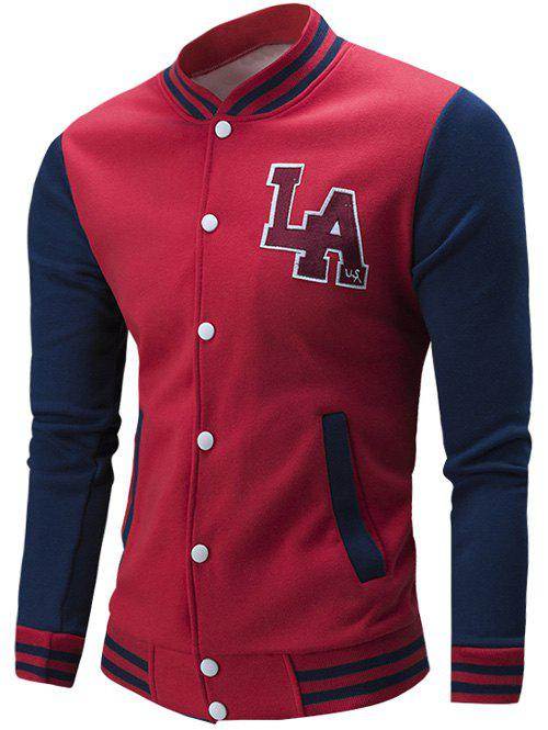 Rib Spliced Color Block Letter Pattern Baseball Jacket - RED 3XL