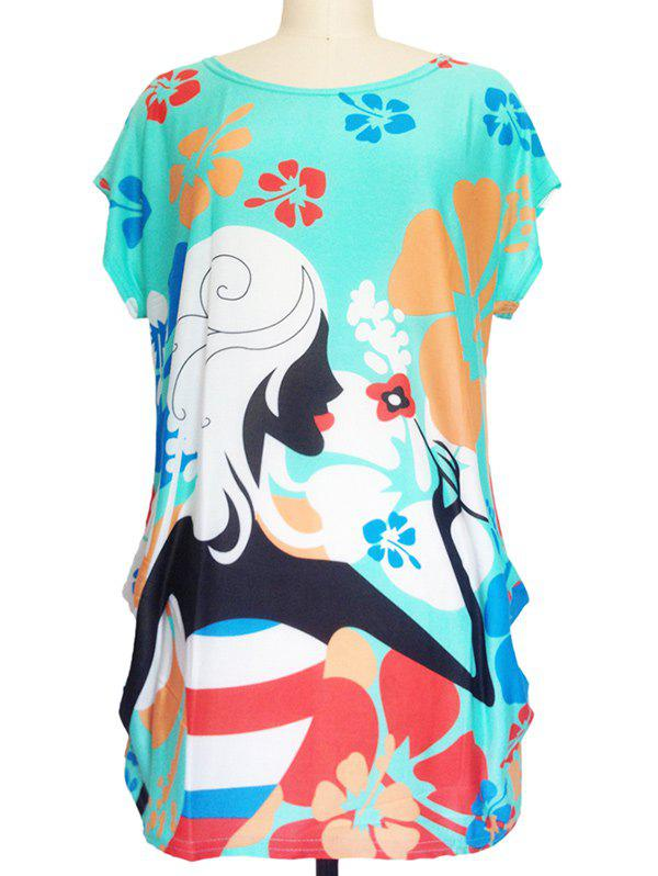 Abstract Print Loose-Fitting T-Shirt - TIFFANY BLUE ONE SIZE