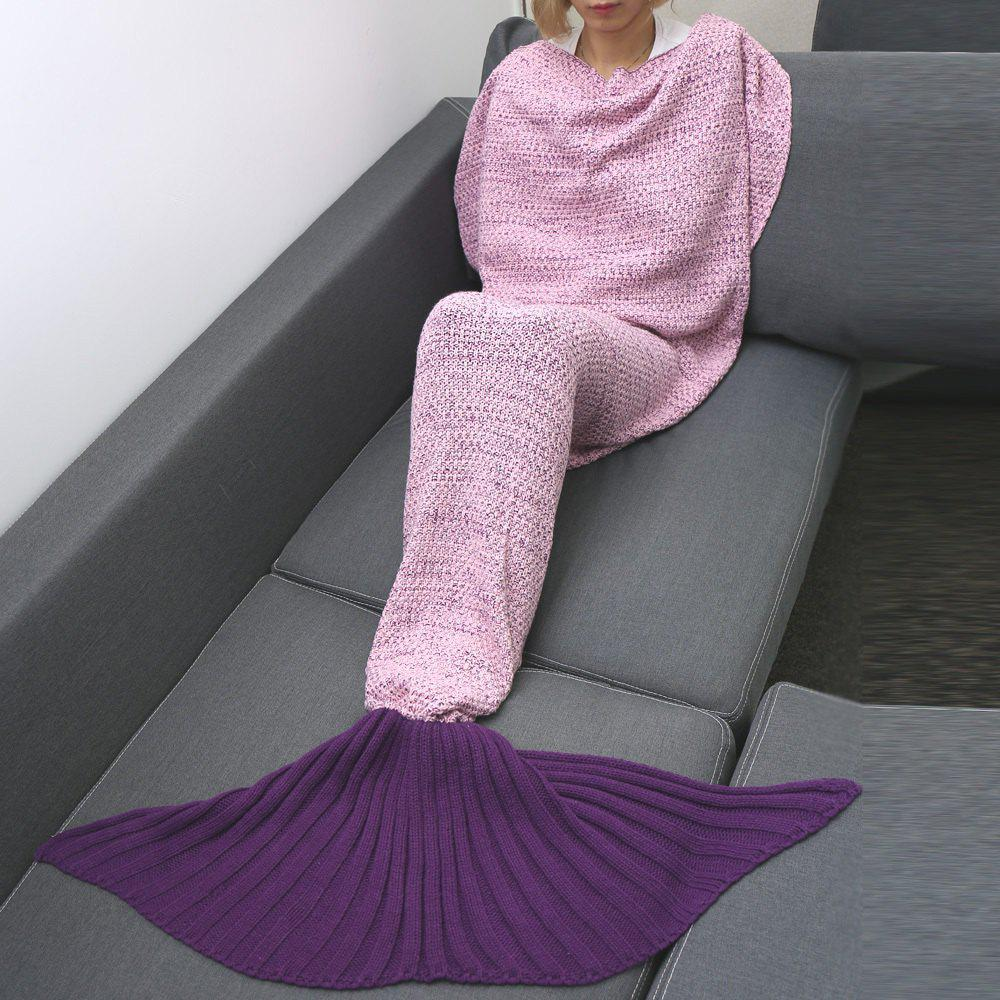 Confortable Ombre Couleur Knitting Mermaid Forme Blanket - Ros et Violet