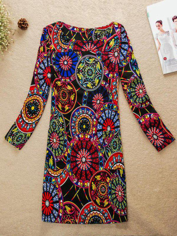 Motif ronde Colorful Jewel Neck Dress - multicolore XL