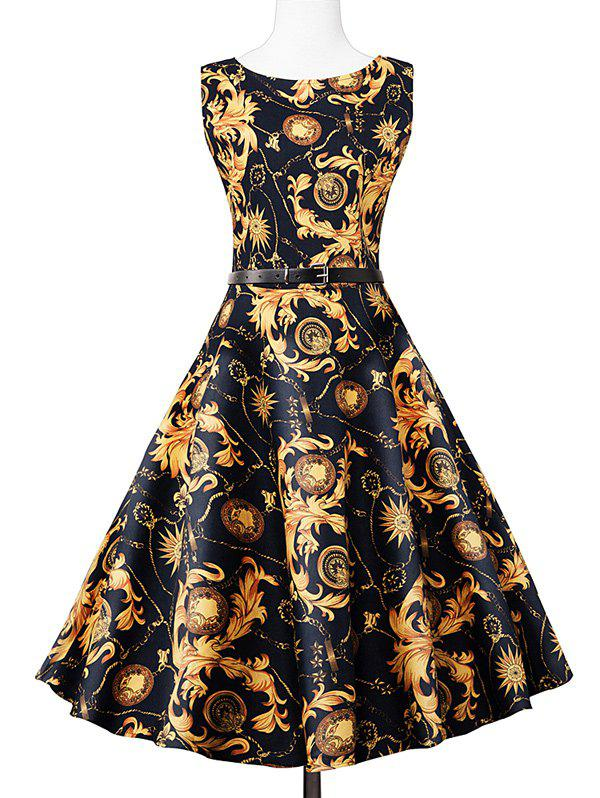 Vintage Swing Sleeveless Printed Dress - COLORMIX S
