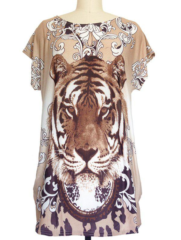 Tiger Print Loose-Fitting T-Shirt - KHAKI ONE SIZE