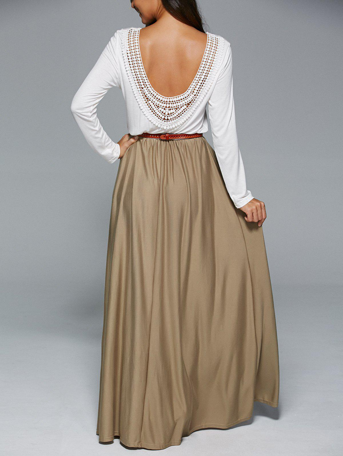 Long Sleeve Splicing Backless Maxi Dress - WHITE XL