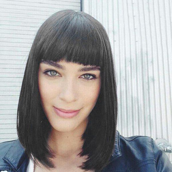 Outstanding Medium Straight Neat Bang Human Hair Wig - BLACK